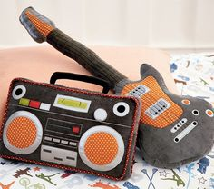 Boombox and Guitar Pillows - great for those musical people out there...