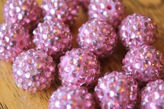 Pink Acrylic Rhinestone Sparkle Beads 16mm 6pcs. $3.95, via Etsy.