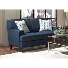 Coaster 504322 Finley Blue Transitional Styled Loveseat with Track Arms