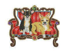 "Needlepoint canvas of cutie pie Chihuahuas on their Victorian love seat. 4""w  18 mesh  $42.00"