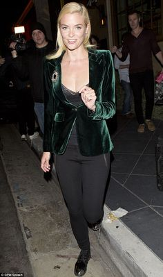 Jamie King wearing green velvet blazer. See who else was caught wearing this as well! :  http://theodoralexington.com/velvet-blazers-yes-or-no/