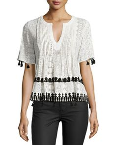 Chikkan+Short-Sleeve+Embroidered+Top,+Black/White+by+Hemant+and+Nandita+at+Neiman+Marcus.