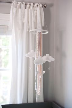 Love this handmade mobile - Cute nursery for boy and girl twins!