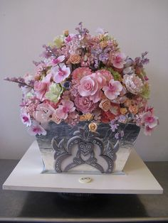 Exquisite silver leafed vase CAKE with sugar flowers by Sylvia Weinstock. This is a CAKE! Gorgeous Cakes, Pretty Cakes, Amazing Cakes, Cupcakes, Cupcake Cakes, Owl Cakes, Fruit Cakes, Gateaux Cake, Gum Paste Flowers