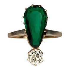 Antique Emerald Diamond Gold Ring | From a unique collection of vintage cocktail rings at https://www.1stdibs.com/jewelry/rings/cocktail-rings/
