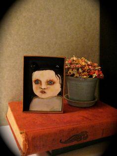Little monster vampire girl Shadow box art by sandymastroni