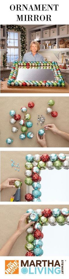 how to make an ornament mirror - so cute for the holidays!