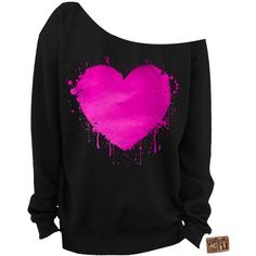 Valentine's Day Heart Foil Slouchy Sweatshirt Heart Sweatshirt Grunge... ($28) ❤ liked on Polyvore featuring tops, hoodies, sweatshirts, sweaters, shirts, dark olive, women's clothing, cut loose shirt, graphic design shirts and graphic shirts