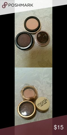 Eyeshadow Three brand new eyeshadows.  *two of them are iredale mineral cosmetic one is the sade of dusk & the other is called shell. *Brand is called marsk mineral eyeshadow & color is called mudcake. iredale mineral Makeup Eyeshadow