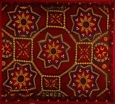 antique Suzani hand embroidered fabric panel Central Asia, 1900.