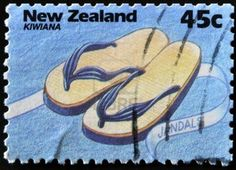 NEW ZEALAND - CIRCA 1994: A stamp printed in New Zealand shows jandals, Kiwiana series, circa 1994  Stock Photo
