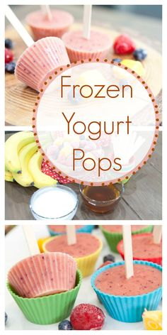 Frozen Yogurt Pops – As the weather begins to warm up, you'll find that this healthy snack recipe will totally hit the spot! It tastes just like a kid-approved popsicle, without all the added sweeteners and other junk. They're easy to make and even easier Healthy Afternoon Snacks, Healthy Snacks For Kids, Healthy Meals, Healthy Food, Healthy Eating, Baby Food Recipes, Snack Recipes, Protein Recipes, Delicious Recipes