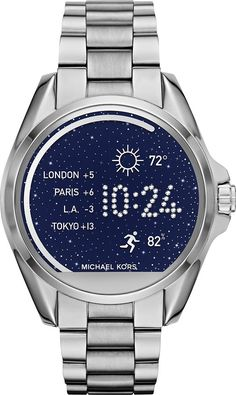 f85fc9513203f Best Buy  Michael Kors Access Bradshaw Smartwatch 44.5mm Stainless Steel  Silver MKT5012