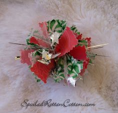 http://www.facebook.com/pages/Spoiled-Rotten-Cotton-Boutique/132728380133473  Pink Christmas Rag Bow Hair