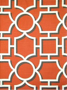 "Vreeland Persimmon Dwell Studio Fabric - 100% cotton multi purpose home décor fabric. Geometric shadow print. Durable 30,000 double rubs- High performance fabric. Repeat; V 9"", H9"". 55"" wide."