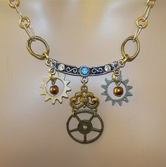 Hand Linked Steampunk Chain with Cog Charms by Ricksiconics, $38.00
