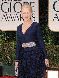 Can we see this in white?  Love the petals on Helen Mirren's Badgley Mischka gown.
