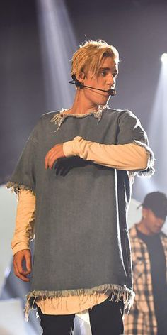 Justin Bieber wearing Marques'Almeida at the Radio 1 Teen Awards in London