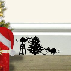 Christmas Decoration Merry Xmas Mice Wall Stickers for Doors, Walls, Skirting