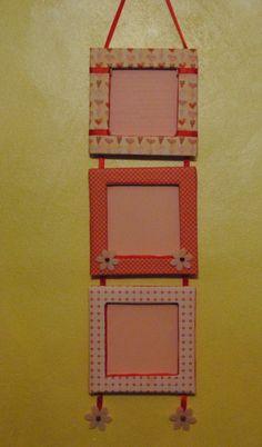 tris di portafoto in cartone