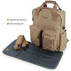 Becko Multi-functional Diaper Bag for Dads / Travel Padded Backpack / Adjustable Shoulder Bag / Tote Handbag with Changing Pad (Khaki)