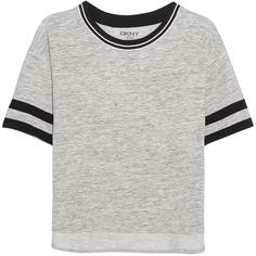 DKNY Avenue D cotton-blend jersey T-shirt ($50) ❤ liked on Polyvore featuring tops, t-shirts, grey, loose tops, dkny, dkny tops, loose fitting tops and gray t shirt
