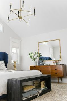 Curbly House Tour // Master Bedroom - After - Love the bench...husband could totally hack that!