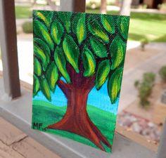 ACEO Tree Painting  Original Art  Green Tree  by HeartsAndKeys