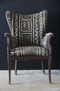 AfricaStyle: African Textiles Furniture = Shockingly Awesome mud cloth, wing chair, home decor, home fashion, innovation Sofa Chair, Upholstered Chairs, Wing Chair, Bedroom Armchair, Wingback Chairs, Tufted Sofa, Chair Cushions, African Textiles, African Patterns
