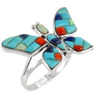 Sterling Silver Butterfly Ring Multi Gemstone R2287-C55
