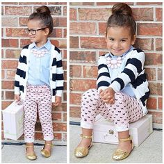 Stripe cardigan, button up and printed leggings