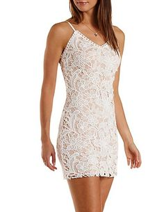 Nude-Lined Lace Bodycon Dress: Charlotte Russe #bodycon #lace #dress