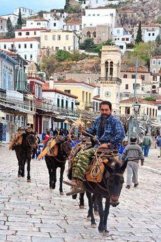 Man on donkey, in Hydra island - Greece.
