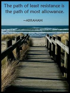 The path of least resistance is the path of most allowance. -- Abraham