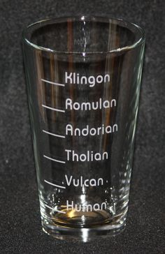 Star Trek Inspired Custom Etched Pint Glass: How much you should drink based on the alcohol tolerance of your species