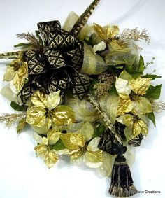 Fleur de Lis Christmas door Wreath Holiday New Year black gold tassel poinsettias EXQUISITE custom design by Cabin Cove Creations