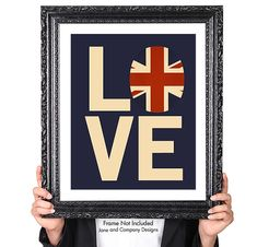 Love British Vintage Flag from old War Poster, Typography British Decor, Britain, United Kingdom, Union Jack, London, England, 8x10  Jane and Company Designs