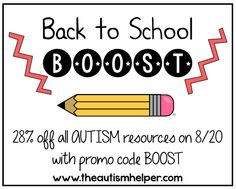 One Day Only Back to School Sale! 28% off  EVERYTHING!!! by theautismhelper.com
