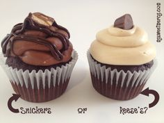 Amazingly delicious Snickers or Reese's Cupcakes! Oh yes!