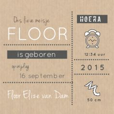 Geboortekaartje Floor  www.fientje-en-co.nl #geboortekaartje #birthannouncement #babykaart