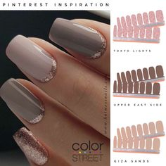 Use these shades to create at home manicure with dry nail polish strips for a fraction of the cost. Dry Nail Polish, Dry Nails, Nail Polish Strips, Nail Polish Colors, Shellac Nails, Gel Manicure, Gel Nail, Acrylic Nails, Essie