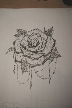 Tattoo geometric rose Probably gunna get a rose sleeve with all types of roses. Inner arm below elbow? More