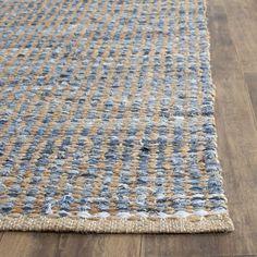 Safavieh Cape Cod Handmade Natural / Blue Jute Natural Fiber Rug (2' x 3') (CAP352A-2), Size 2' x 3'