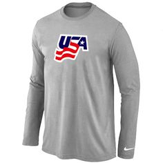 Nike USA Graphic Legend Performance Collection Locker Room Long Sleeve T-Shirt L.Grey