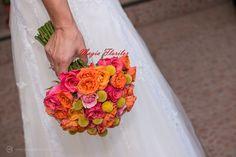 Colorfull roses, spray roses and craspedia wedding bouquet