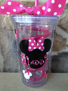 Pink Minnie Mouse Personalized Tumbler by SweetSerendipityShop, $15.00