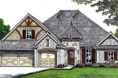 European Style House Plan - 3 Beds 2 Baths 2206 Sq/Ft Plan #310-676 Exterior - Front Elevation - Houseplans.com