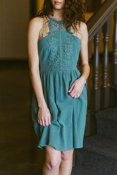Spring Approved- Avocado Crochet Lace Halter Dress - RaeLynns Boutique