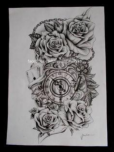 tattoo's tekenen | clock and roses tattoo drawings