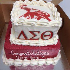 Sorority cake Sorority And Fraternity, Custom Cakes, Birthday Cake, Desserts, Food, Food Cakes, Personalized Cakes, Tailgate Desserts, Birthday Cakes